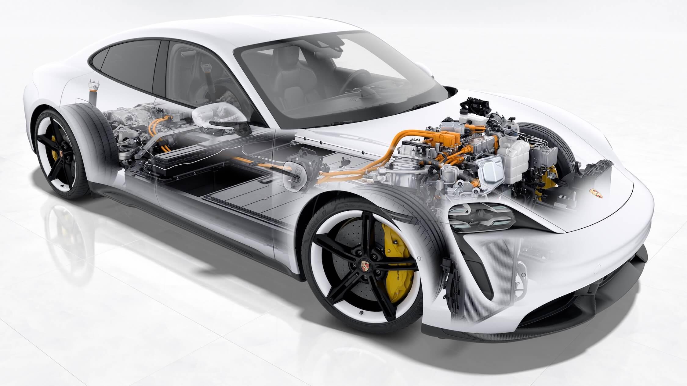 Porsche Taycan bateria cadeia cinemática