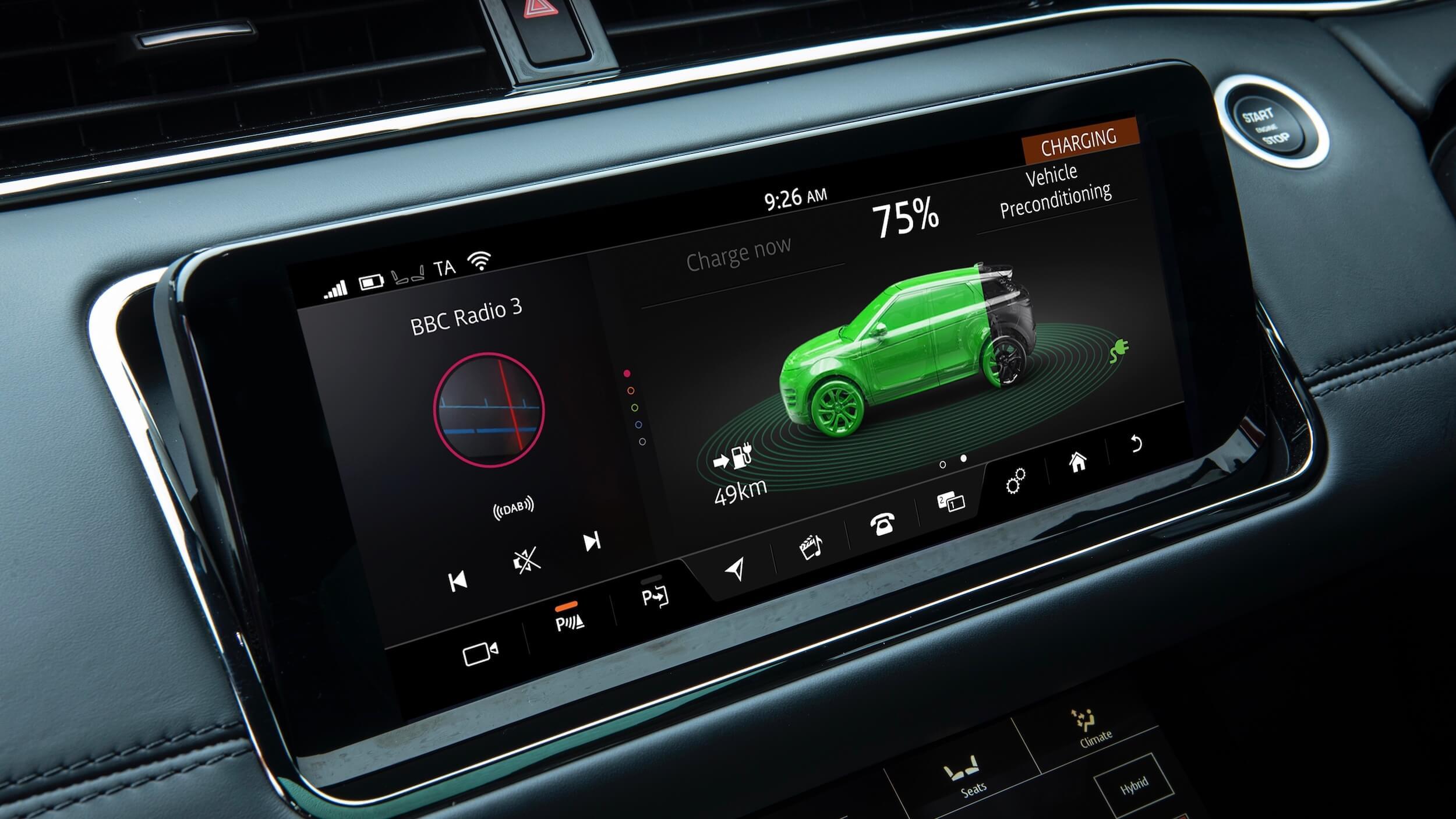 Range Rover Evoque PHEV ecrã