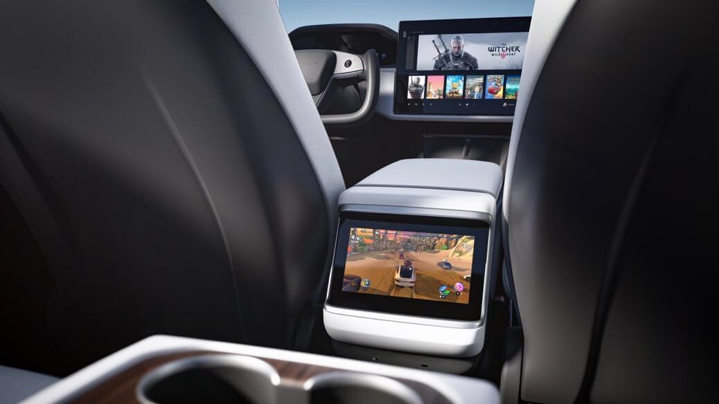 Tesla Model S ecrã traseiro